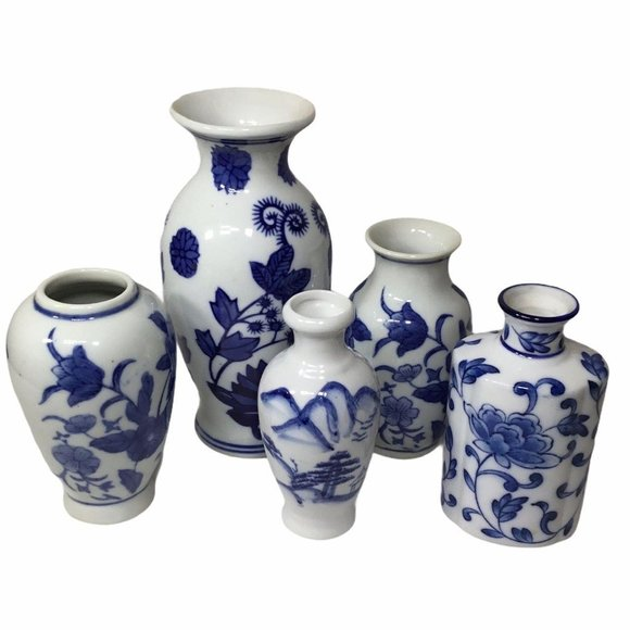 Bundle of Blue and White Mini Vases